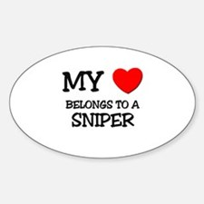 My Heart Belongs To A SNIPER Oval Decal