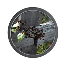Fence Berries Wall Clock