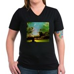 Clouds & Sunset Women's V-Neck Dark T-Shirt
