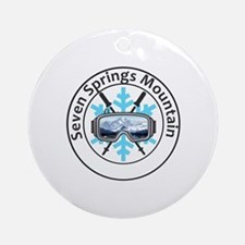 Cute Seven springs snowboarding Round Ornament