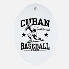 Cuban Baseball Oval Ornament