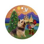 Norwich Terrier Christmas Fantasy Ornament (Round)
