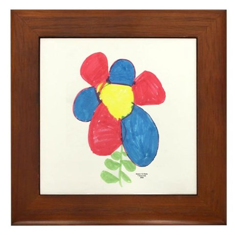Red and Blue Flower Framed Tile