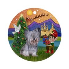 Light Skye Terrier Xmas Fantasy Ornament (Round)