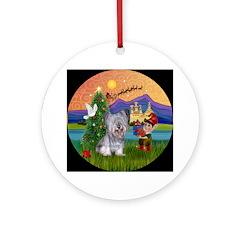Light Skye Terrier Xmas Fantasy Ornament (Round)