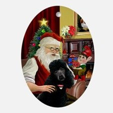 Santa & His Black Standard Poodle Oval Ornament