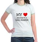 My Heart Belongs To A SAIL MAKER Jr. Ringer T-Shir