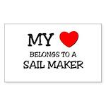 My Heart Belongs To A SAIL MAKER Sticker (Rectangl
