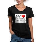 My Heart Belongs To A SAIL MAKER Women's V-Neck Da