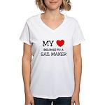 My Heart Belongs To A SAIL MAKER Women's V-Neck T-