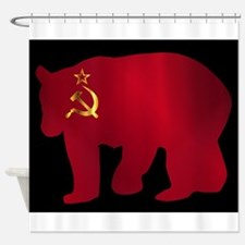Large Russian Bear Silhouette On Fl Shower Curtain