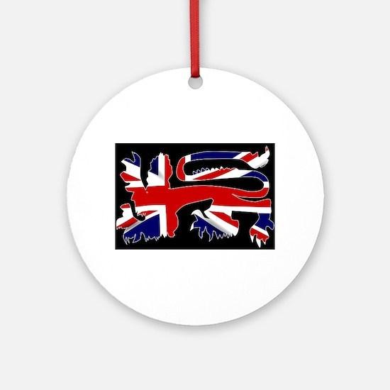 British Lion Silhouette On Union Ja Round Ornament