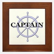 Captain Ship Wheel Framed Tile