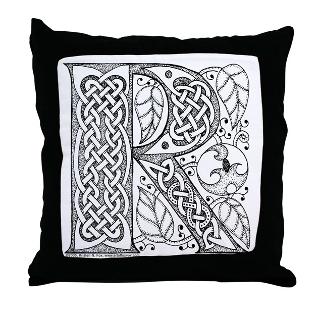 Celtic Letter R Throw Pillow By Artoffoxvox