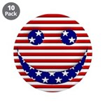 "American Flag Smiley Face 3.5"" Button (10 pac"