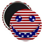 "American Flag Smiley Face 2.25"" Magnet (10 pa"