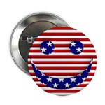 "American Flag Smiley Face 2.25"" Button (10 pa"