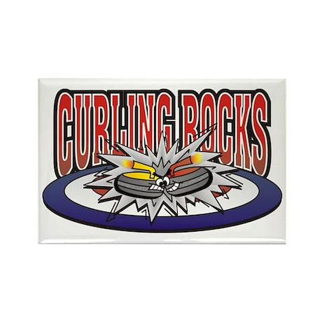 Curling Rocks Rectangle Magnet