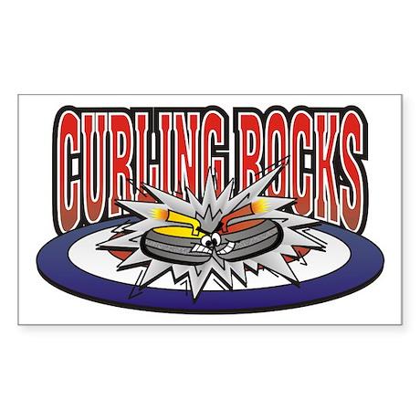 Curling Rocks Rectangle Sticker