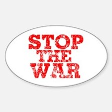 Stop the War Distressed Look Oval Decal