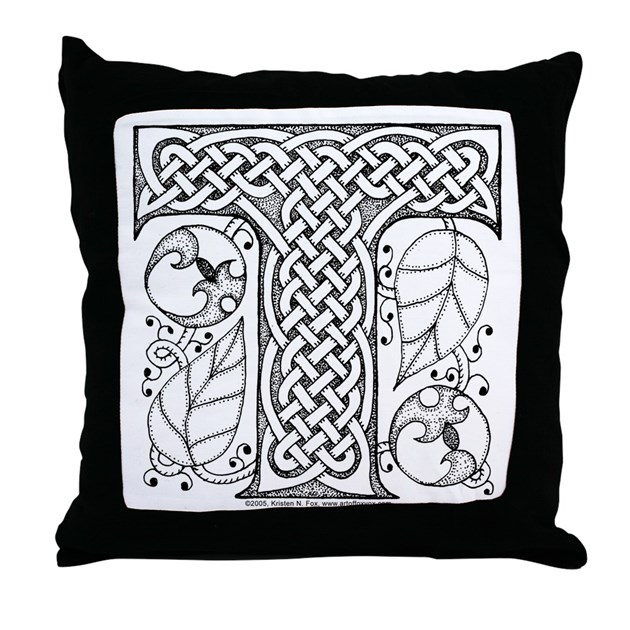 Letter T Throw Pillow : Celtic Letter T Throw Pillow by artoffoxvox