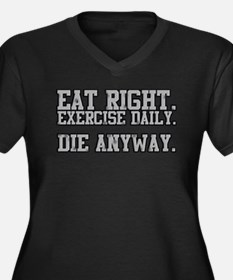 Die Anyway Women's Plus Size V-Neck Dark T-Shirt