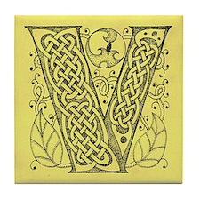 Celtic Letter V Tile Coaster