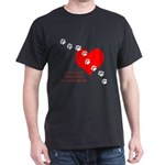 Cats Leave Pawprints on Your Heart Black T-Shirt