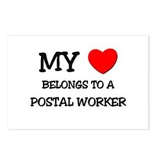 My Heart Belongs To A POSTAL WORKER Postcards (Pac