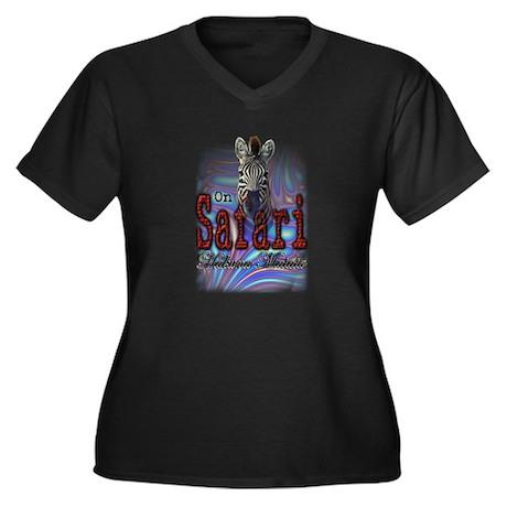 On Safari - Women's Plus Size V-Neck Dark T-Shirt