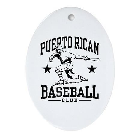 Puerto Rican Baseball Oval Ornament