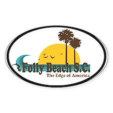 Folly Beach SC Oval Decal