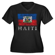 Vintage Haiti Women's Plus Size V-Neck Dark T-Shir