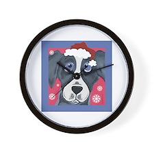 Greyhound Santa Wall Clock