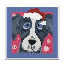 Greyhound Santa Tile Coaster