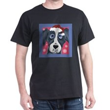 Greyhound Santa Black T-Shirt