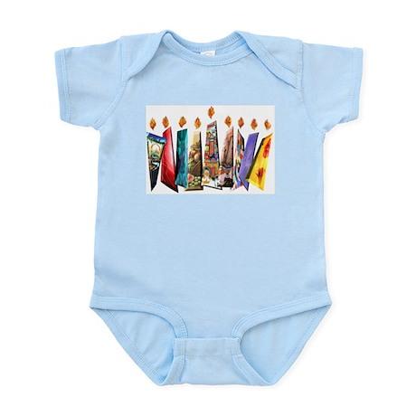Fabric Chanukah Menorah Infant Bodysuit