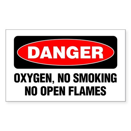 Danger: Oxygen, No Smoking, No Open Flames Sticker