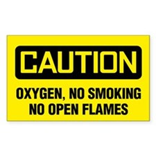 Caution Oxygen, No Smoking, No Open Flames Decal