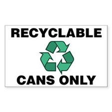 Recyclable Cans Only (w/Recycle Symbol) Decal
