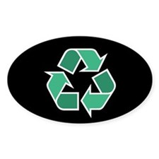 Recycle Symbol Oval Sticker (Black Series)