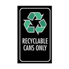 Recyclable Cans Only Sticker (Black w/Symbol)