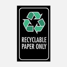Recyclable Paper Only Sticker (Black w/Symbol)