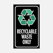 Recyclable Waste Only Sticker (Black w/Symbol)