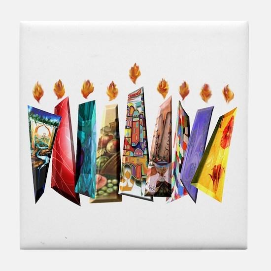 Fabric Chanukah Menorah Tile Coaster