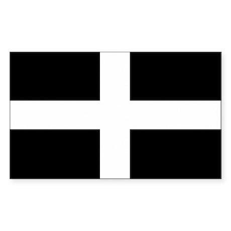 Saint Piran's Cornwall Flag Rectangle Sticker