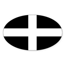 Saint Piran's Cornwall Flag Oval Decal