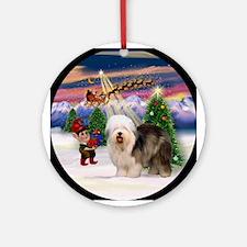 Old English Sheepdog Christmas Ornament (Round)