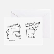 Escaped cow tramples ex! Greeting Card