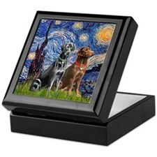 Starry / 2 Labradors (Blk+C) Keepsake Box